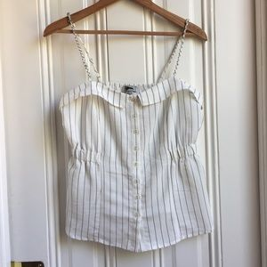 Guess White and Grey Pinstripe Tank Top